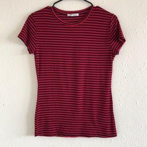 Zara Red & Black Stripped Top